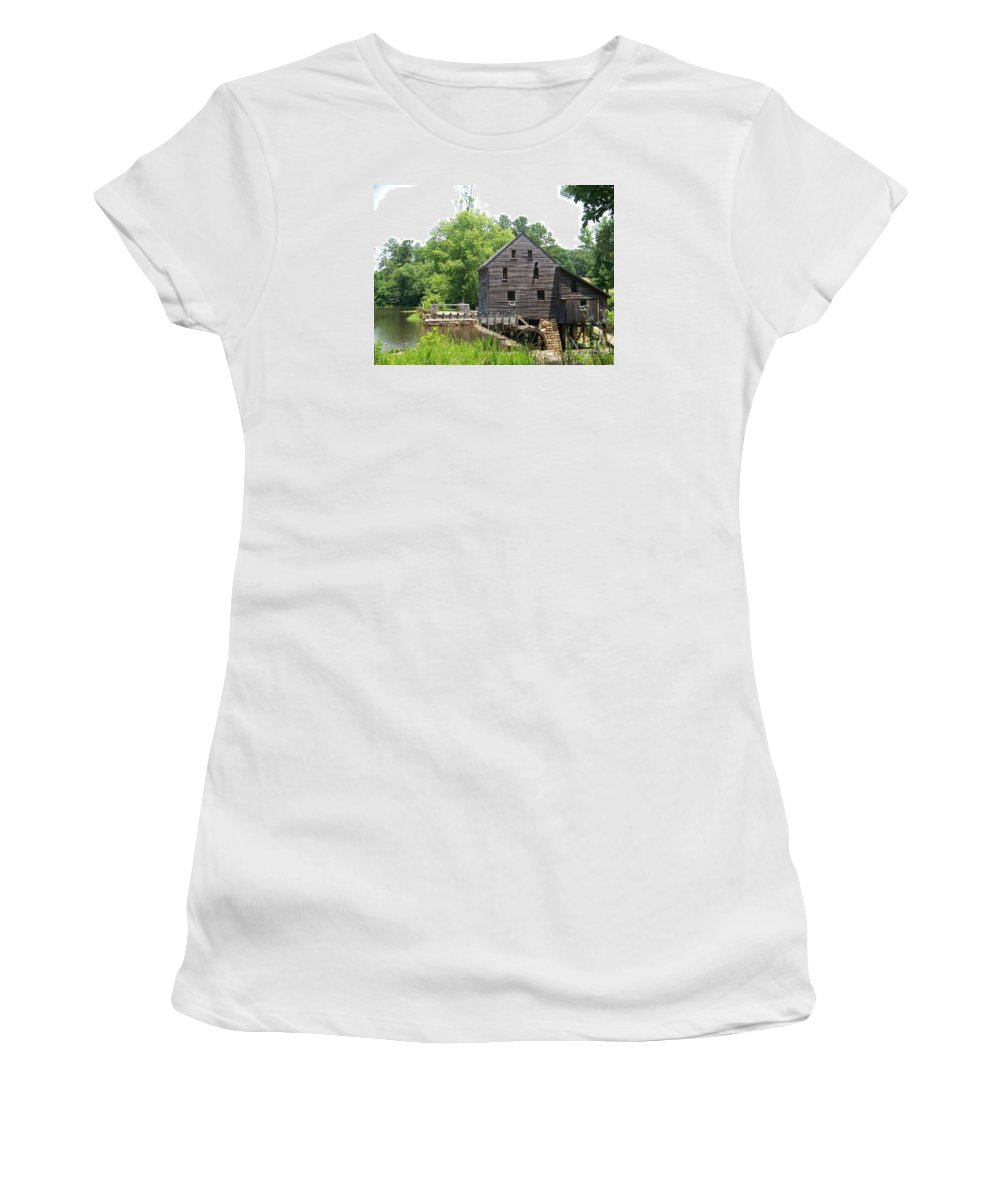 Yates Women's T-Shirt (Athletic Fit) featuring the photograph Yates Mill by Kevin Croitz