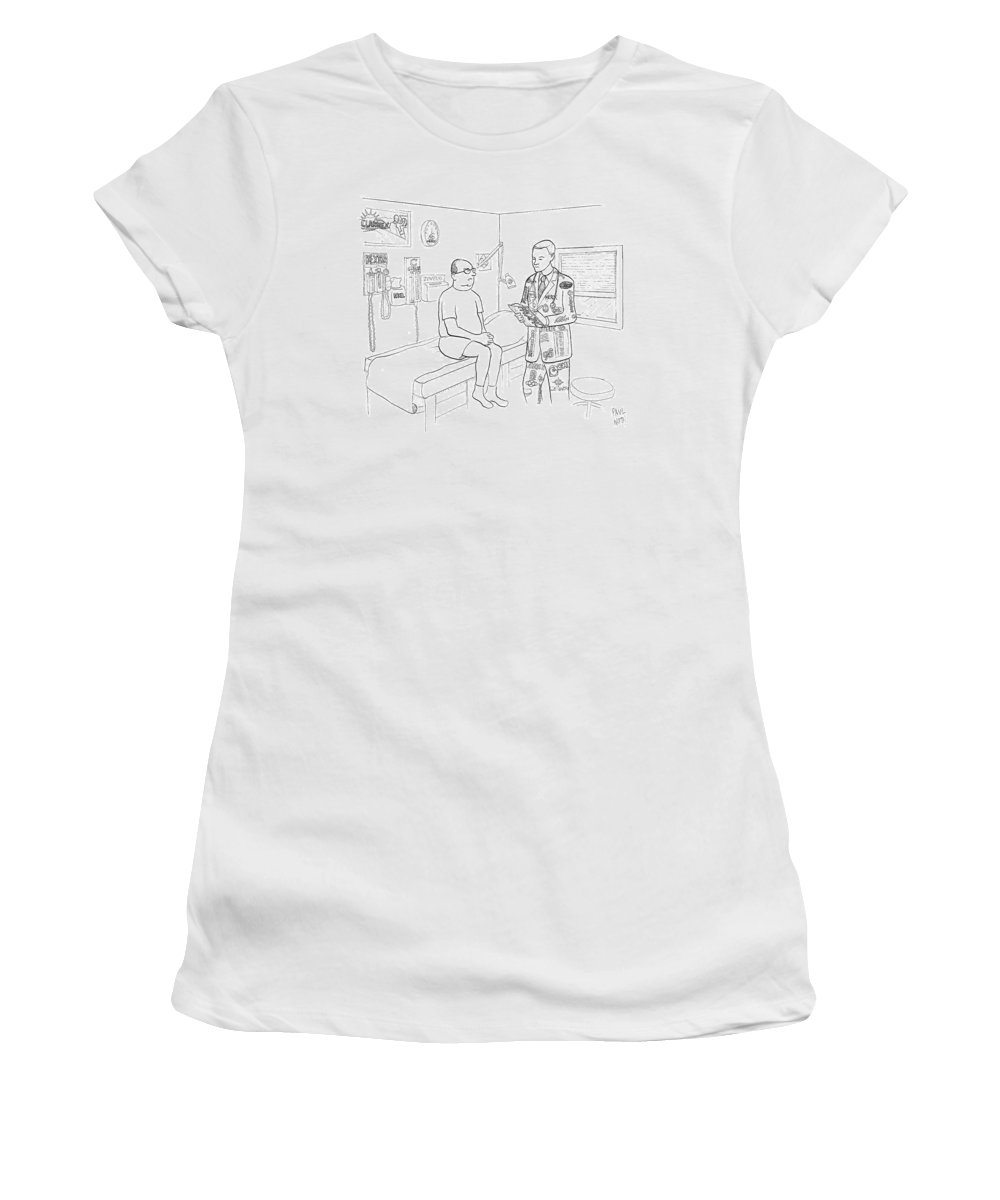 Doctor Women's T-Shirt featuring the drawing New Yorker July 7th, 2008 by Paul Noth