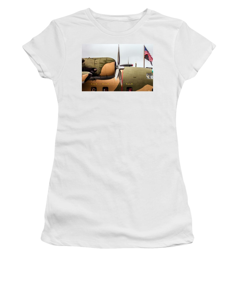 Action Women's T-Shirt (Athletic Fit) featuring the photograph Airplanes At The Airshow by Alex Grichenko