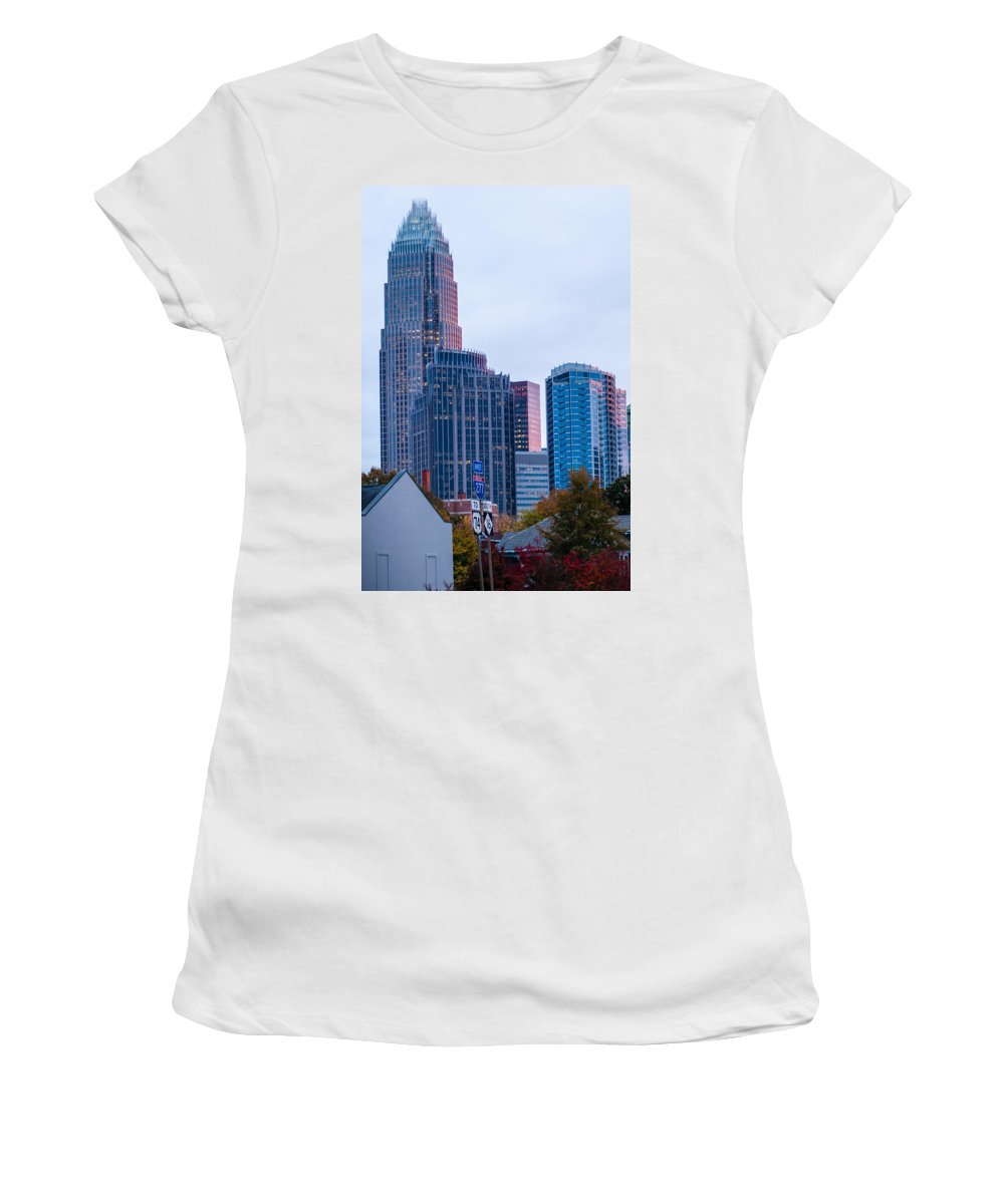 2013 Women's T-Shirt (Athletic Fit) featuring the photograph Charlotte City Skyline At Night by Alex Grichenko