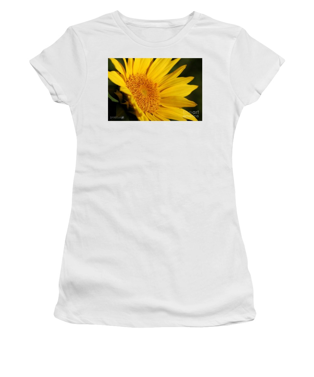 Mccombie Women's T-Shirt (Athletic Fit) featuring the photograph Chipmunk's Peredovik Sunflower by J McCombie