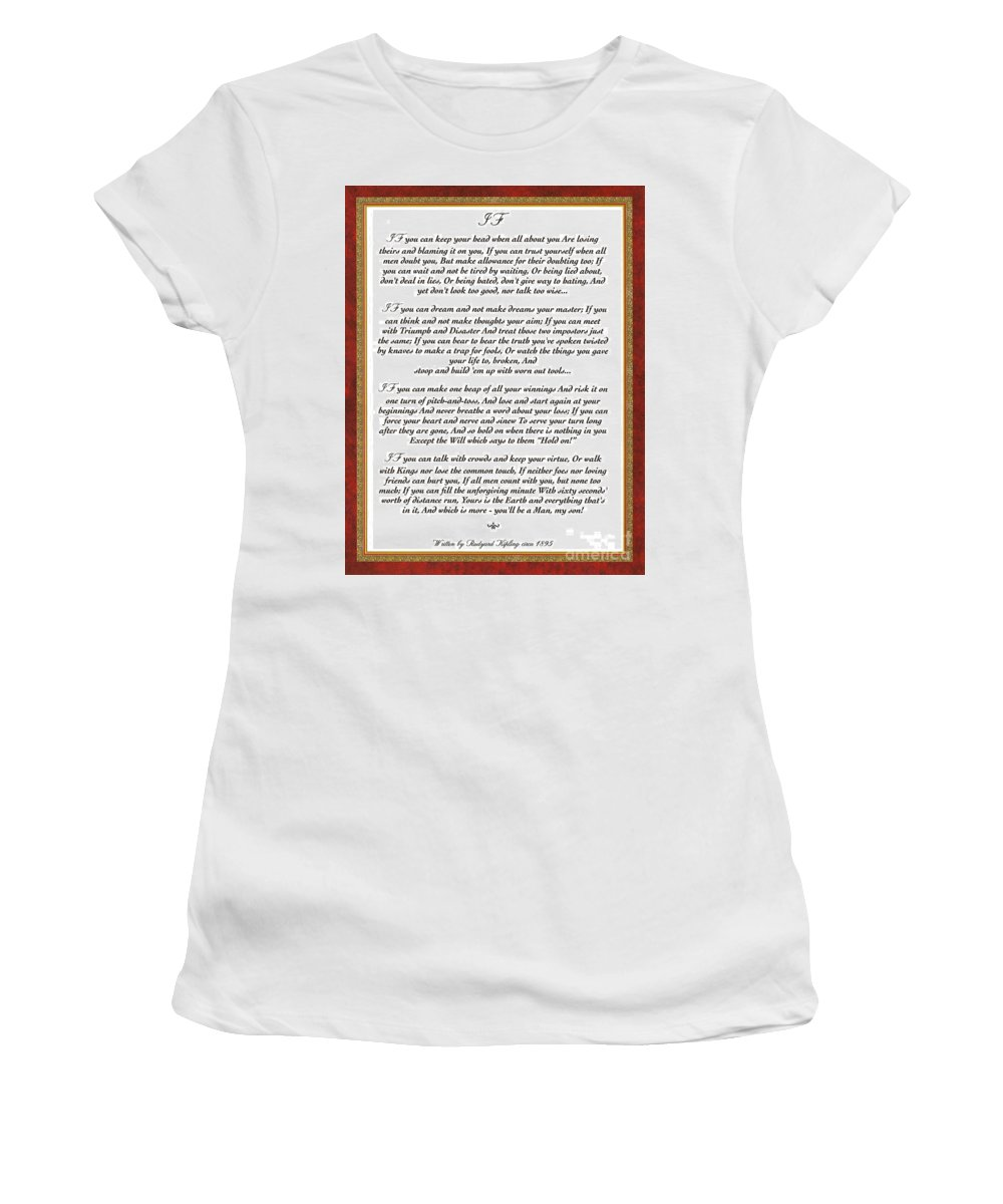 Rudyard Kipling Women's T-Shirt featuring the mixed media If By Rudyard Kipling by Desiderata Gallery