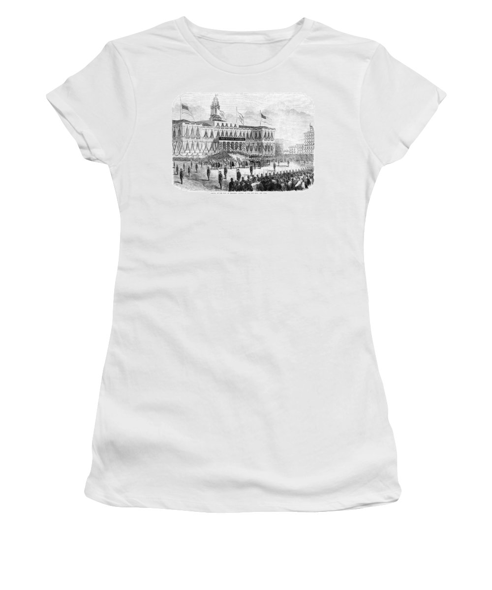1865 Women's T-Shirt (Athletic Fit) featuring the painting Lincoln's Funeral, 1865 by Granger