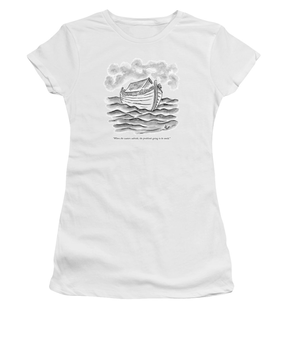 The Bible Ancient History Katrina Nature Hurricanes New Orleans  (animals On Noah's Ark Women's T-Shirt featuring the drawing When The Waters Subside by Frank Cotham