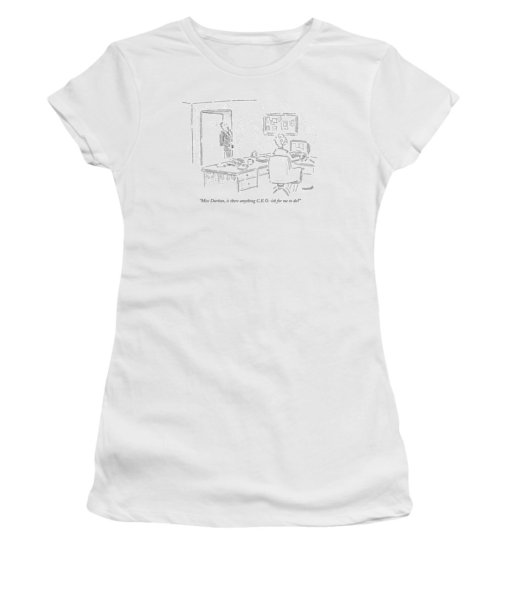 Word Play Business Management   (executive Talking To Secretary From His Office Doorway.) 121903 Rma Robert Mankoff Women's T-Shirt featuring the drawing Miss Durban by Robert Mankoff