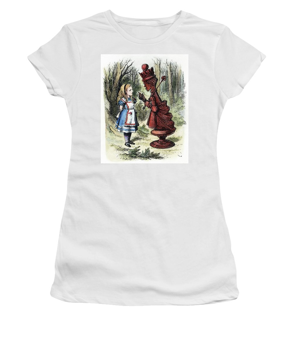 1872 Women's T-Shirt featuring the drawing Carroll Looking Glass by Granger