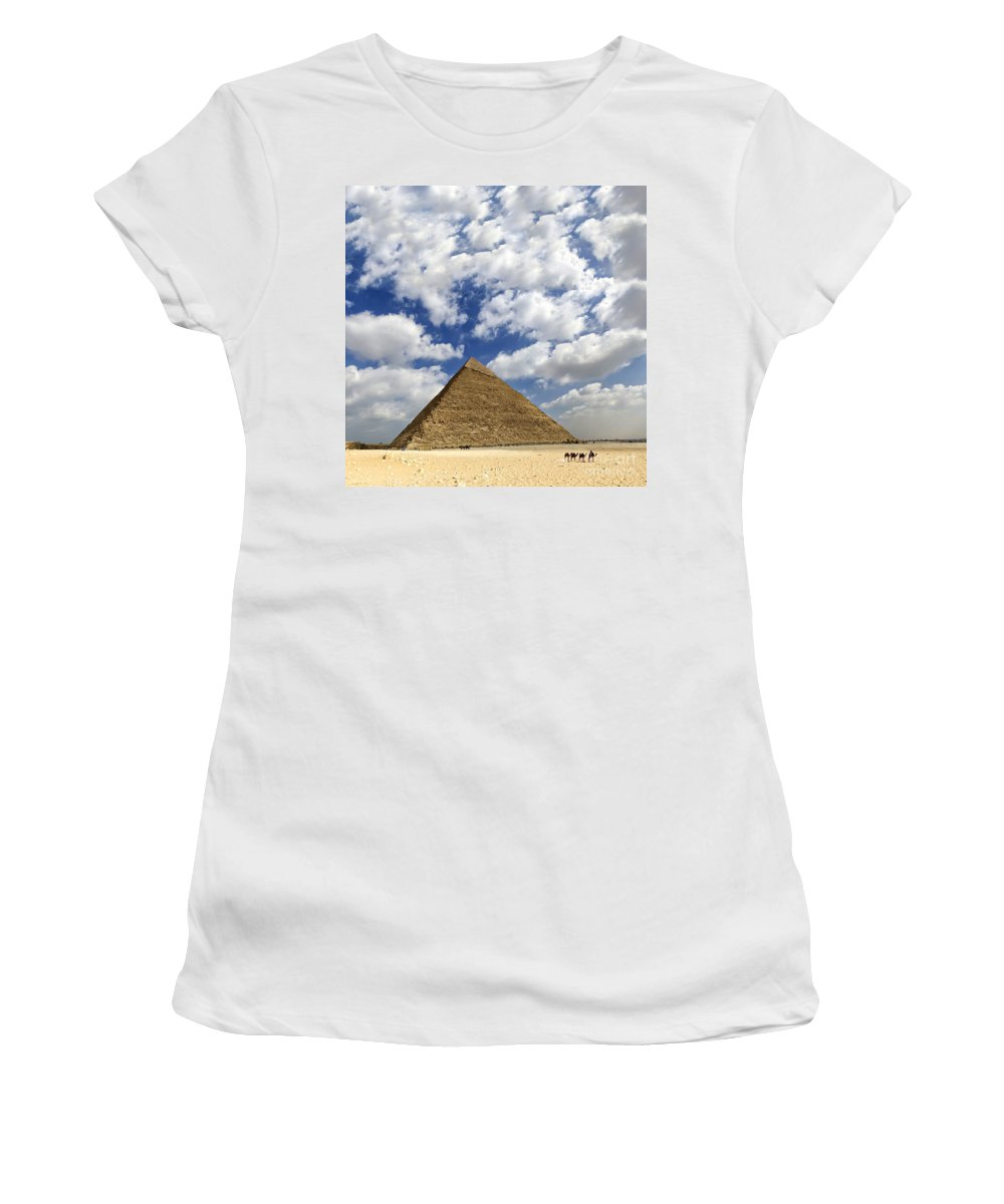 People Women's T-Shirt (Athletic Fit) featuring the photograph Great Pyramid Of Egypt by Sophie McAulay