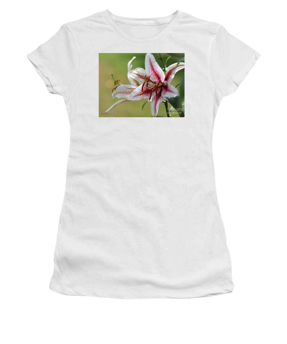 Mccombie Women's T-Shirt (Athletic Fit) featuring the photograph Oriental Lily Named Tiger Edition by J McCombie