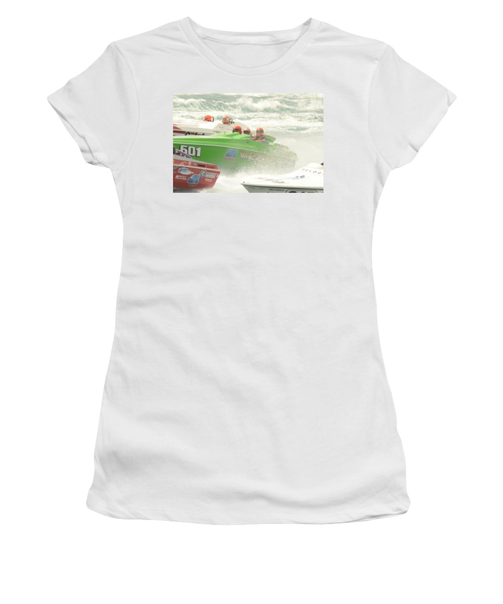 Powerboat Women's T-Shirt featuring the photograph Port Huron Sarnia International Offshore Powerboat Race by Randy J Heath