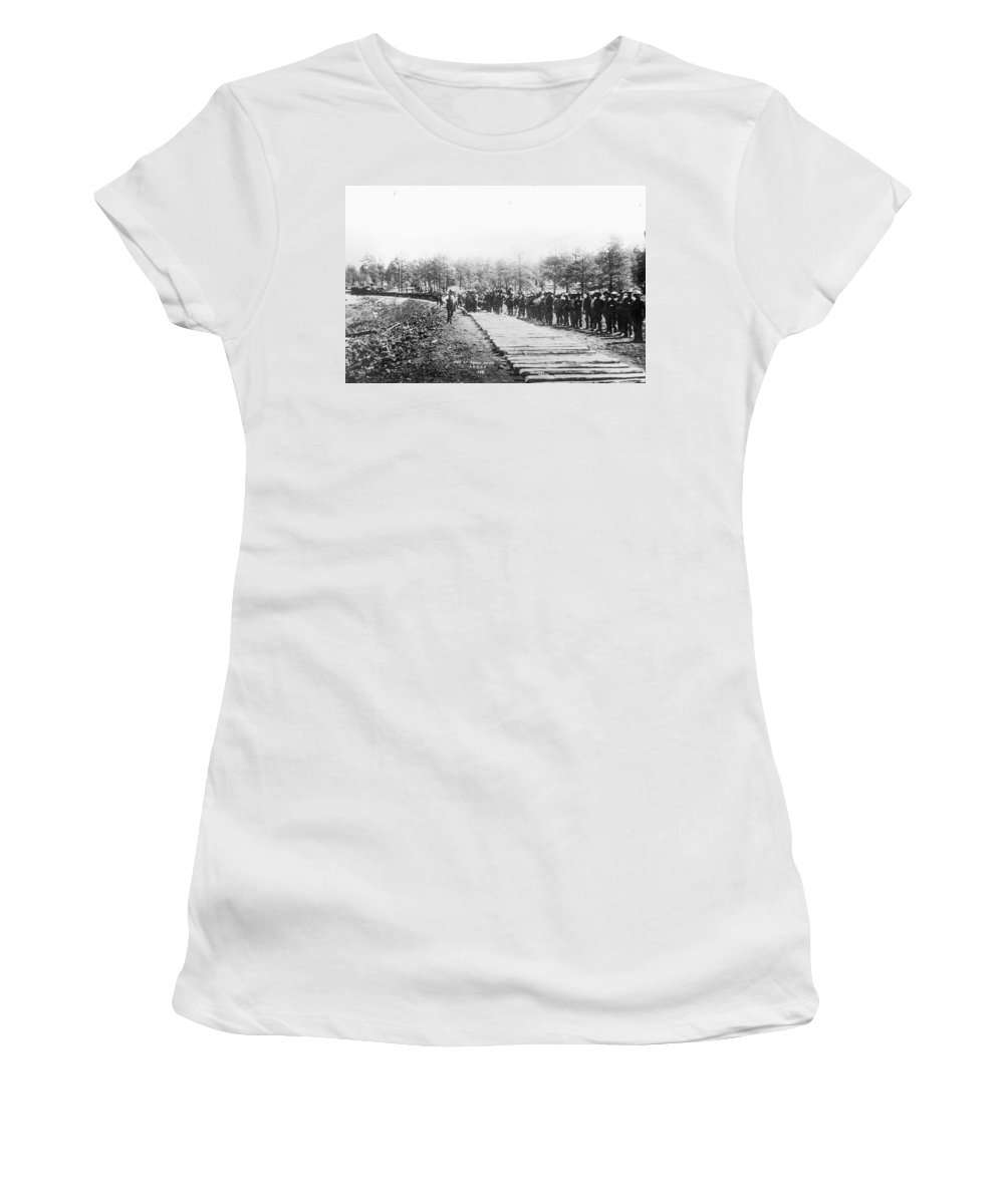 1880 Women's T-Shirt (Athletic Fit) featuring the photograph Railroad Construction by Granger