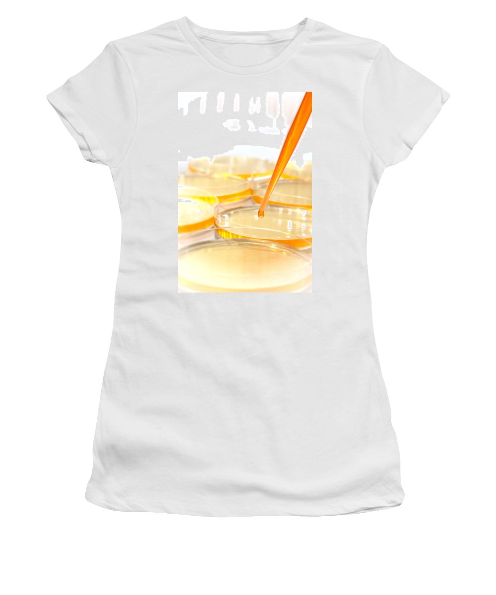 Lab Women's T-Shirt (Athletic Fit) featuring the photograph Laboratory Experiment In Science Research Lab by Science Research Lab By Olivier Le Queinec