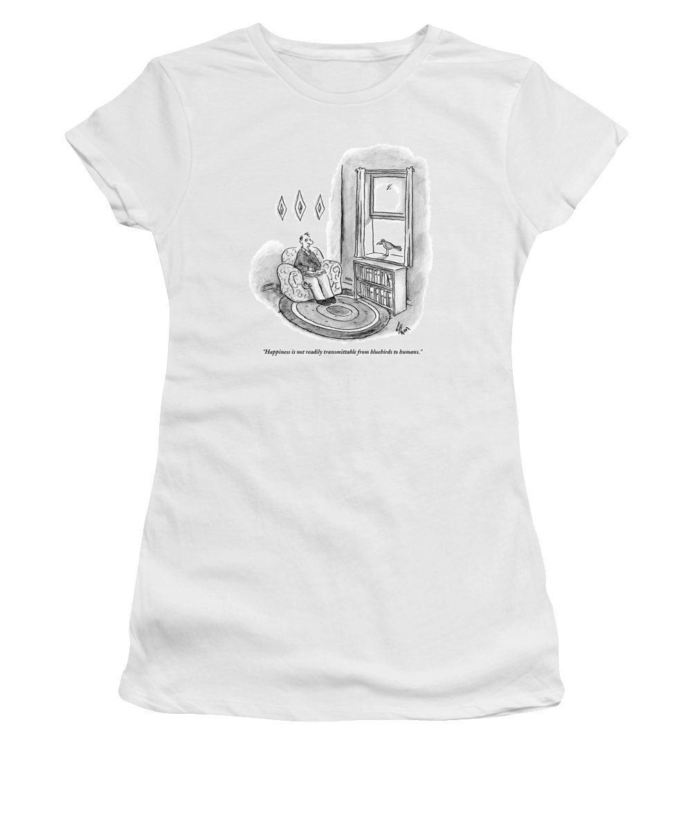 Birds Talking Medical Avian Flu Word Play The Bluebird Of Happiness   (bluebird Of Happiness Sitting On Window Sill Talking Man In A Chair.) 122446 Fco Frank Cotham Women's T-Shirt featuring the drawing Happiness Is Not Readily Transmittable by Frank Cotham