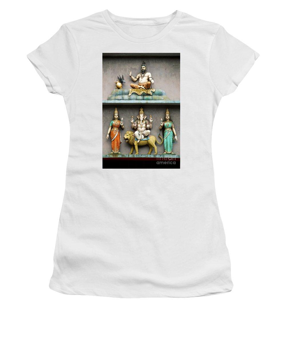 Hindu Women's T-Shirt (Athletic Fit) featuring the photograph Hindu Temple With Indian Gods Kuala Lumpur Malaysia by Jacek Malipan