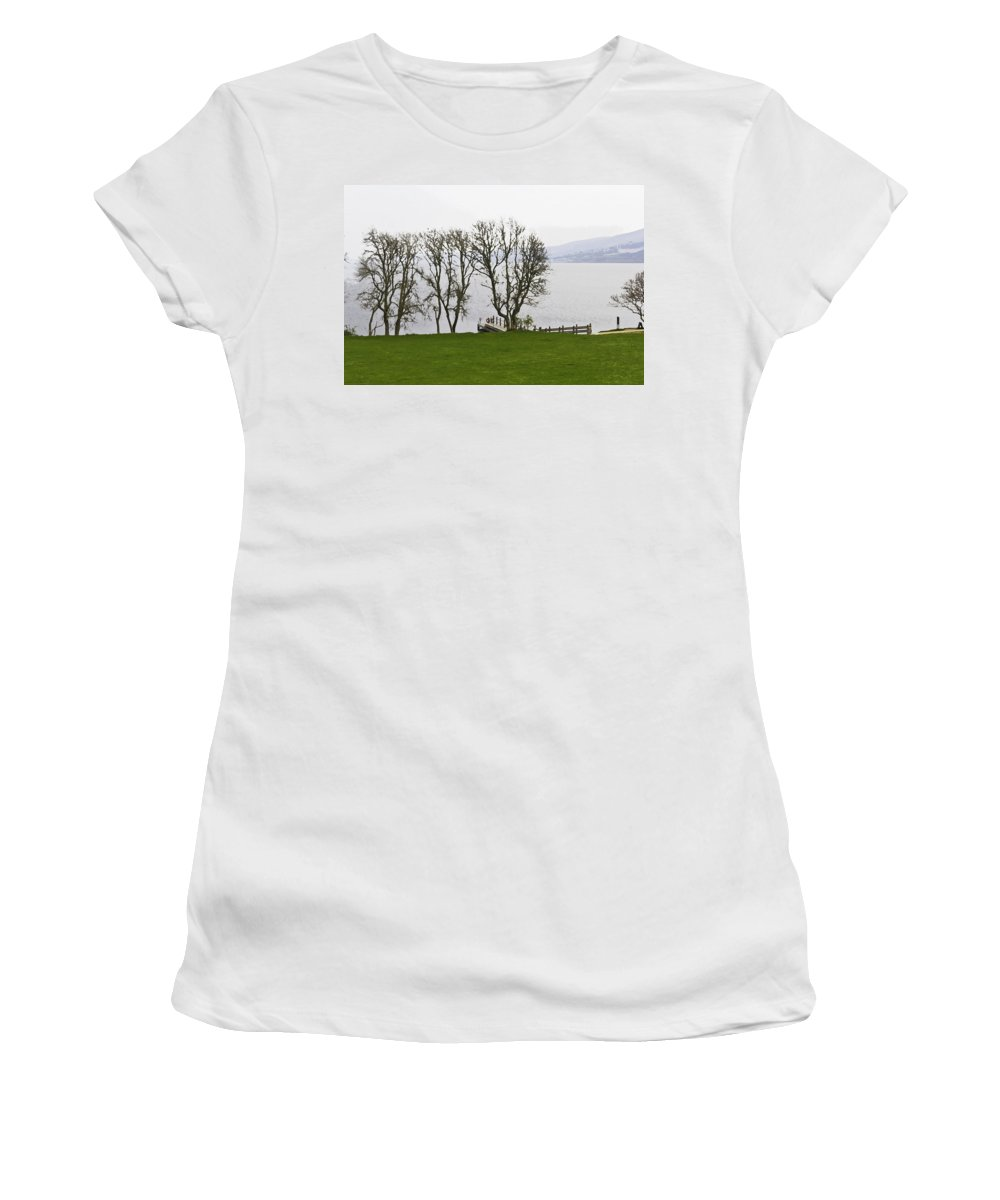 Boat Jetty Women's T-Shirt (Athletic Fit) featuring the digital art Loch Ness And Boat Jetty Next To Urquhart Castle by Ashish Agarwal