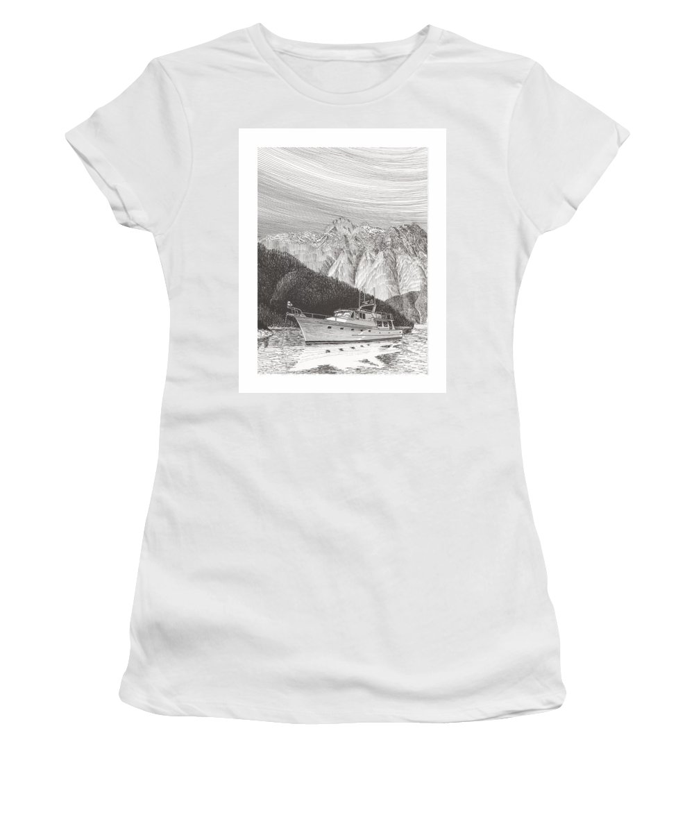 A Pen & Ink Yacht Portrait Of A 65 Foot Yacht Anchored In Desolation Sound Women's T-Shirt featuring the drawing Desolation Sound Quiet Anchorage   by Jack Pumphrey