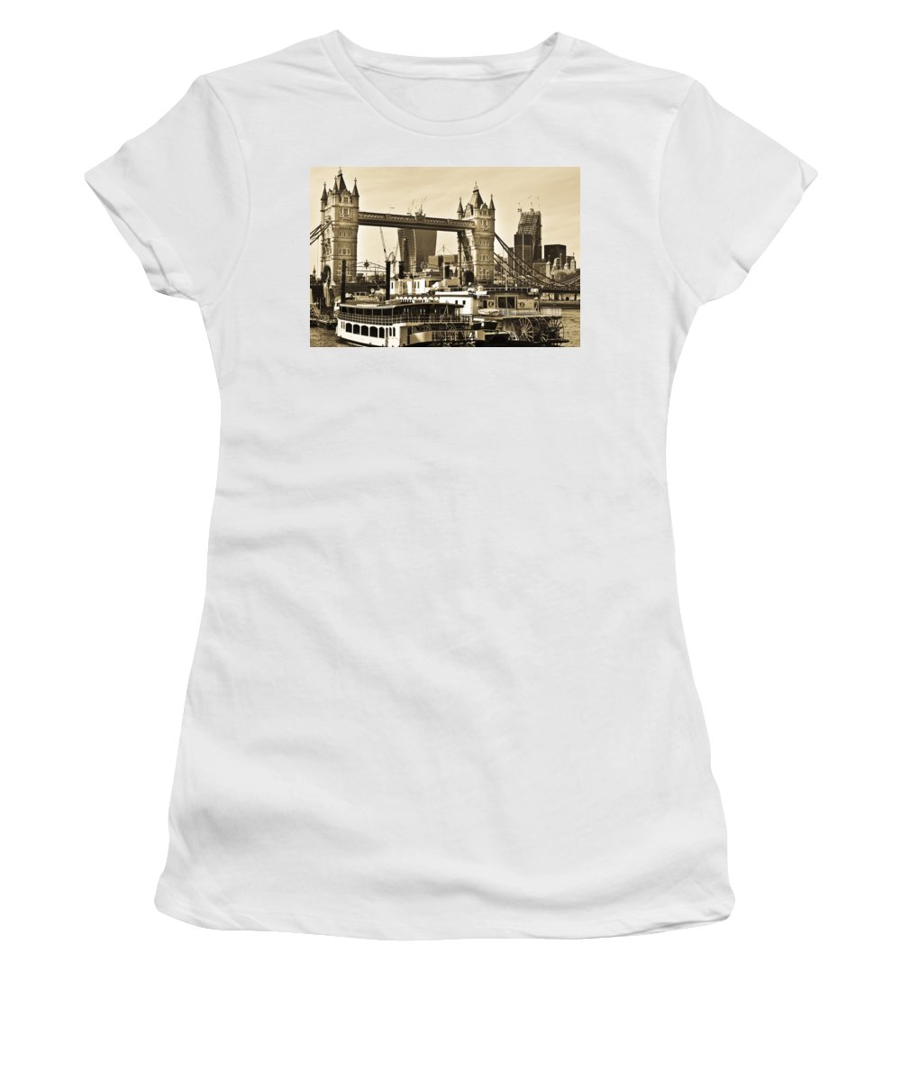 Paddle Steamers Women's T-Shirt (Athletic Fit) featuring the photograph River Thames View by David Pyatt