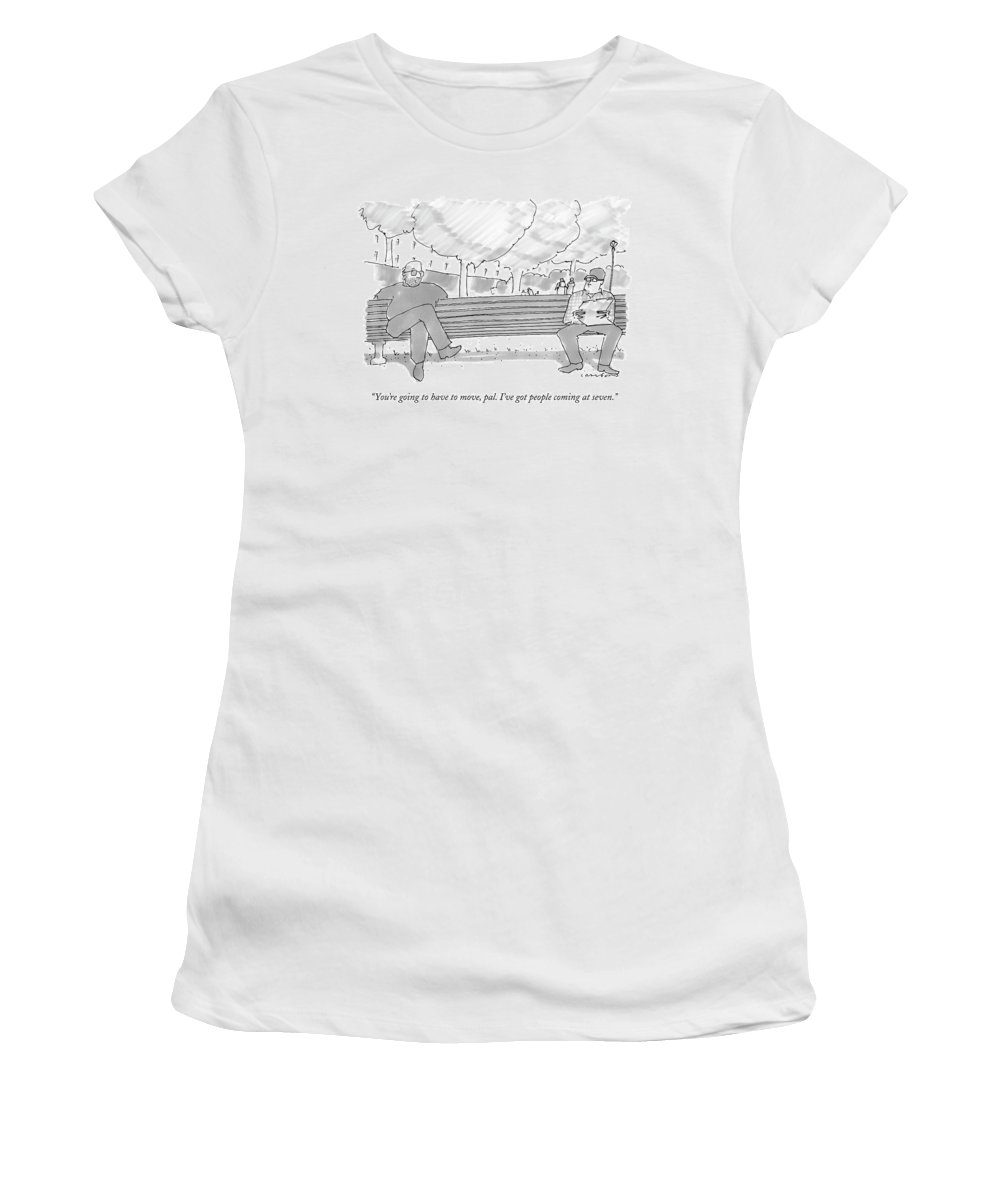 Park Women's T-Shirt featuring the drawing You're Going To Have To Move by Michael Crawford