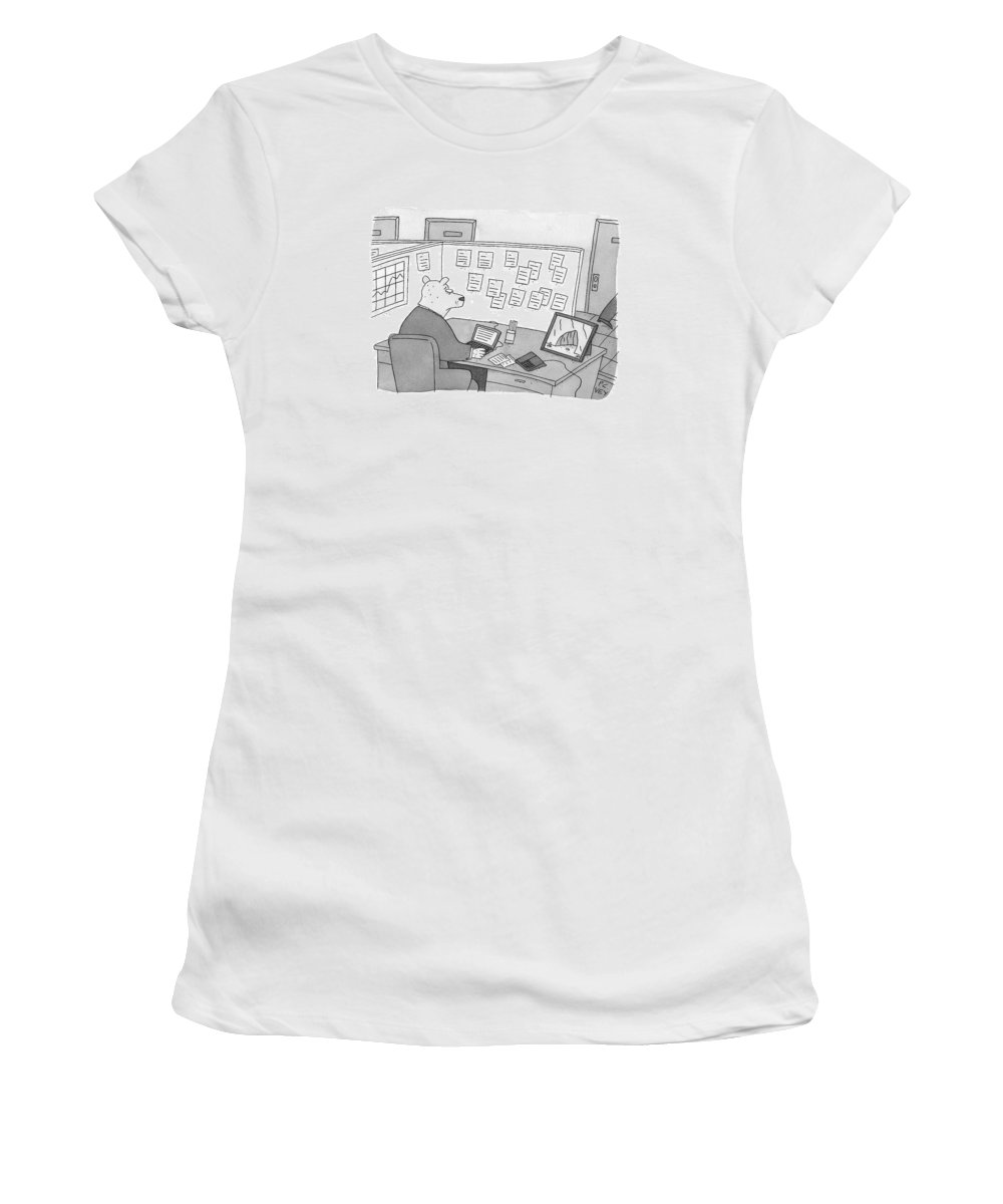 Bears Women's T-Shirt featuring the drawing A Bear Dressed As An Office Worker Sits by Peter C. Vey