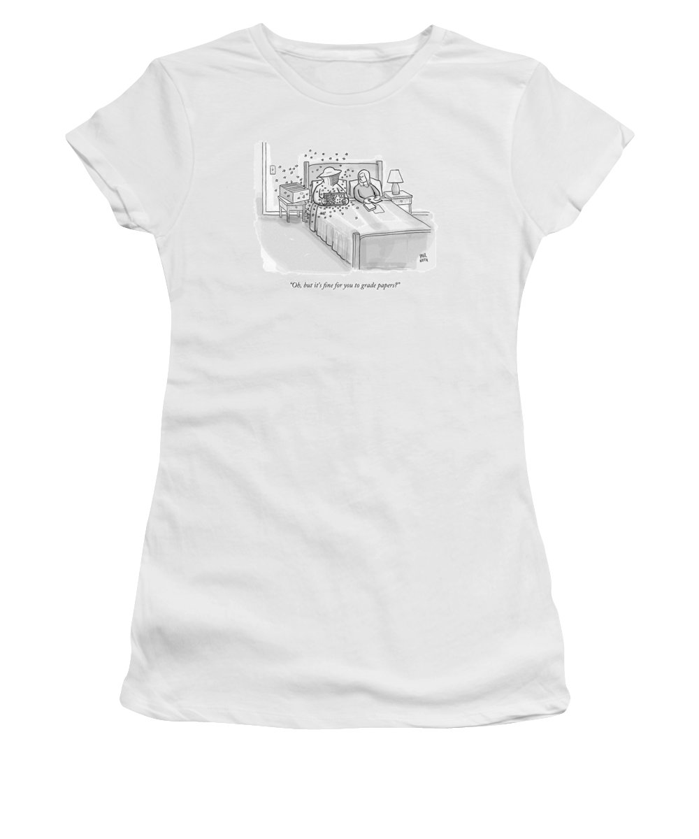 Bedroom Scenes Women's T-Shirt featuring the drawing A Beekeeper Surrounded By Bees Is Sitting In Bed by Paul Noth