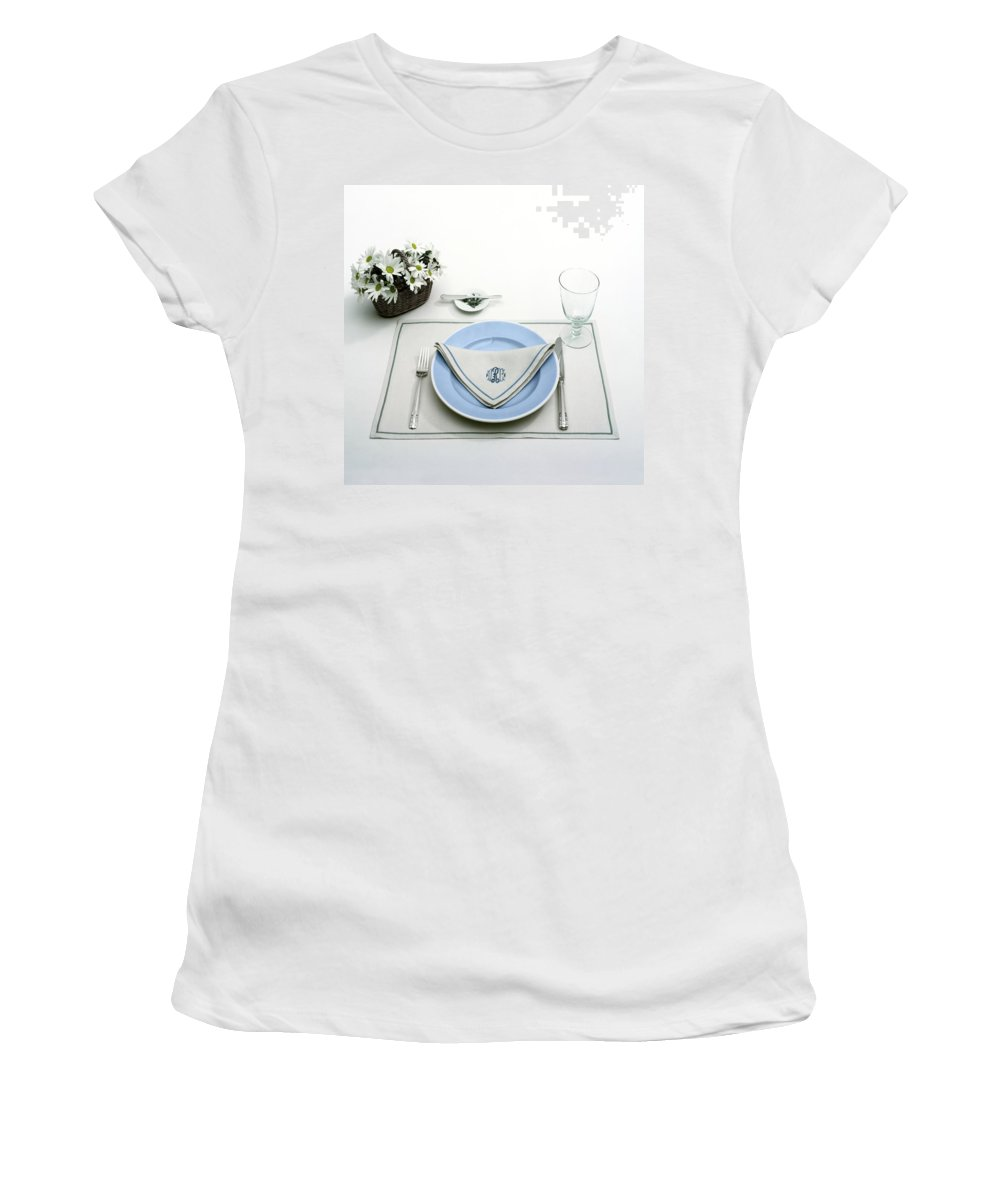 Utensils Women's T-Shirt featuring the photograph A Blue Table Setting by Haanel Cassidy