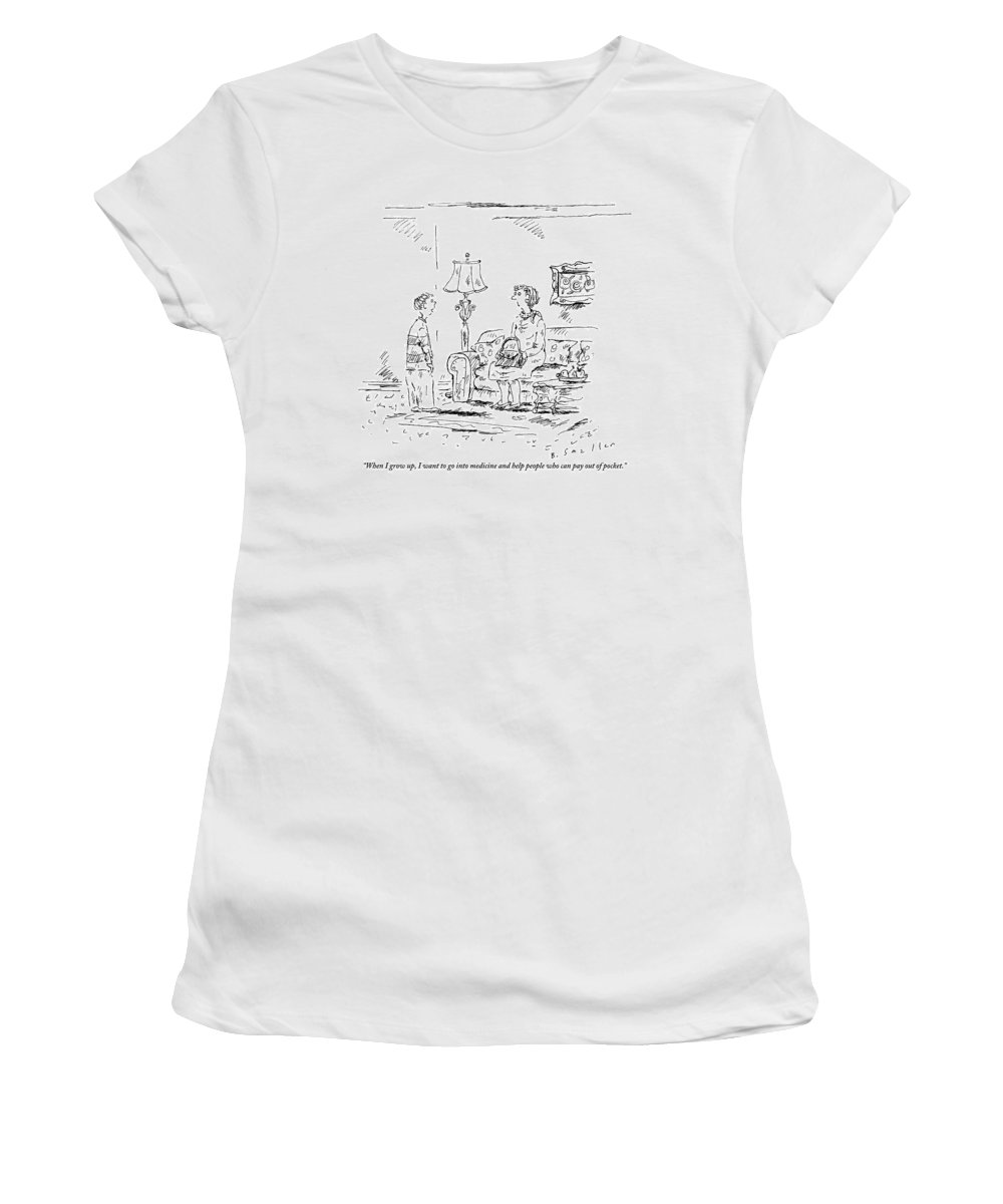 Grow Up Women's T-Shirt featuring the drawing A Boy Speaks To His Mother In Their Living Room by Barbara Smaller