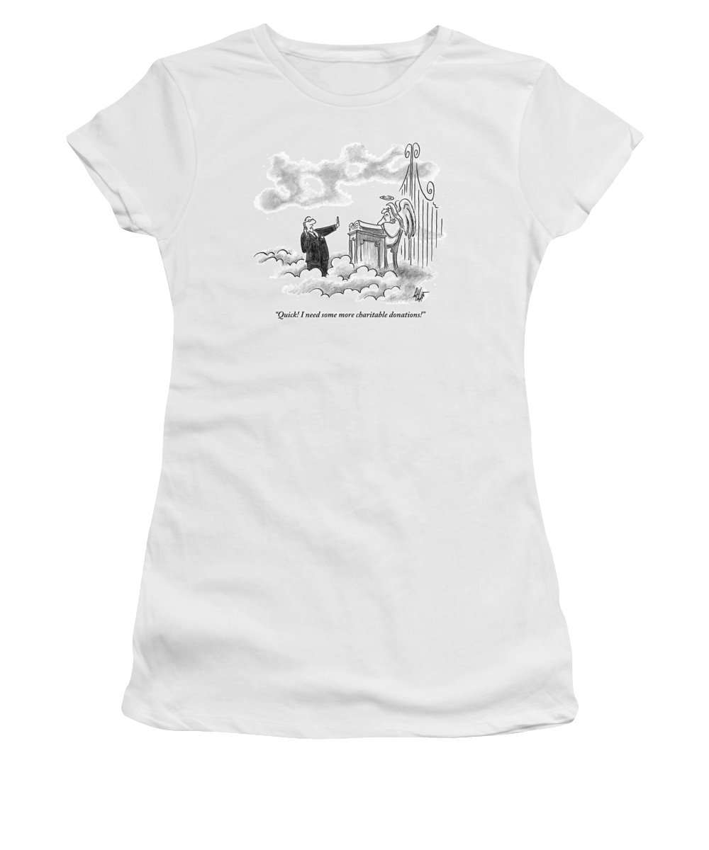 Man Women's T-Shirt featuring the drawing A Business Man Standing In Heaven by Frank Cotham