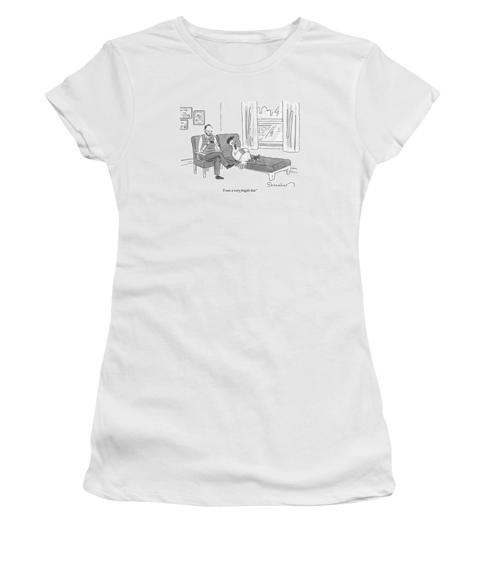 Chicken Women's T-Shirt featuring the drawing A Chicken Lies On A Therapist's Chair And Talks by Danny Shanahan