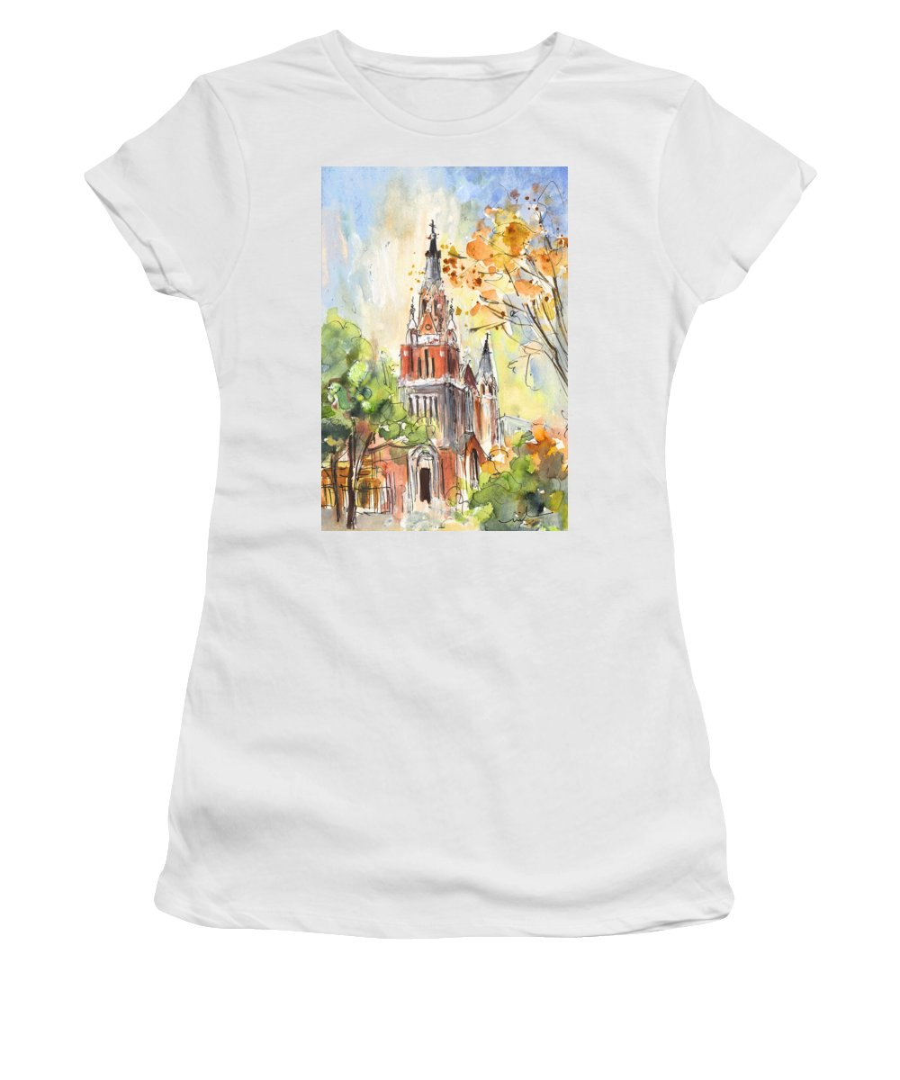 Travel Women's T-Shirt (Athletic Fit) featuring the painting A Church In Our Street In Budapest by Miki De Goodaboom