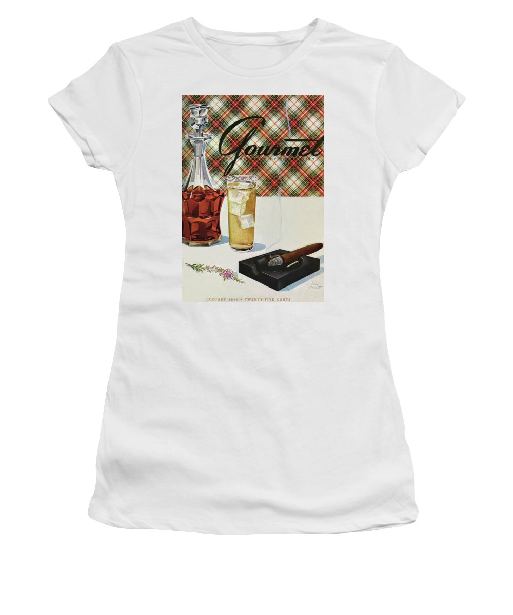 Illustration Women's T-Shirt featuring the photograph A Cigar In An Ashtray Beside A Drink And Decanter by Henry Stahlhut