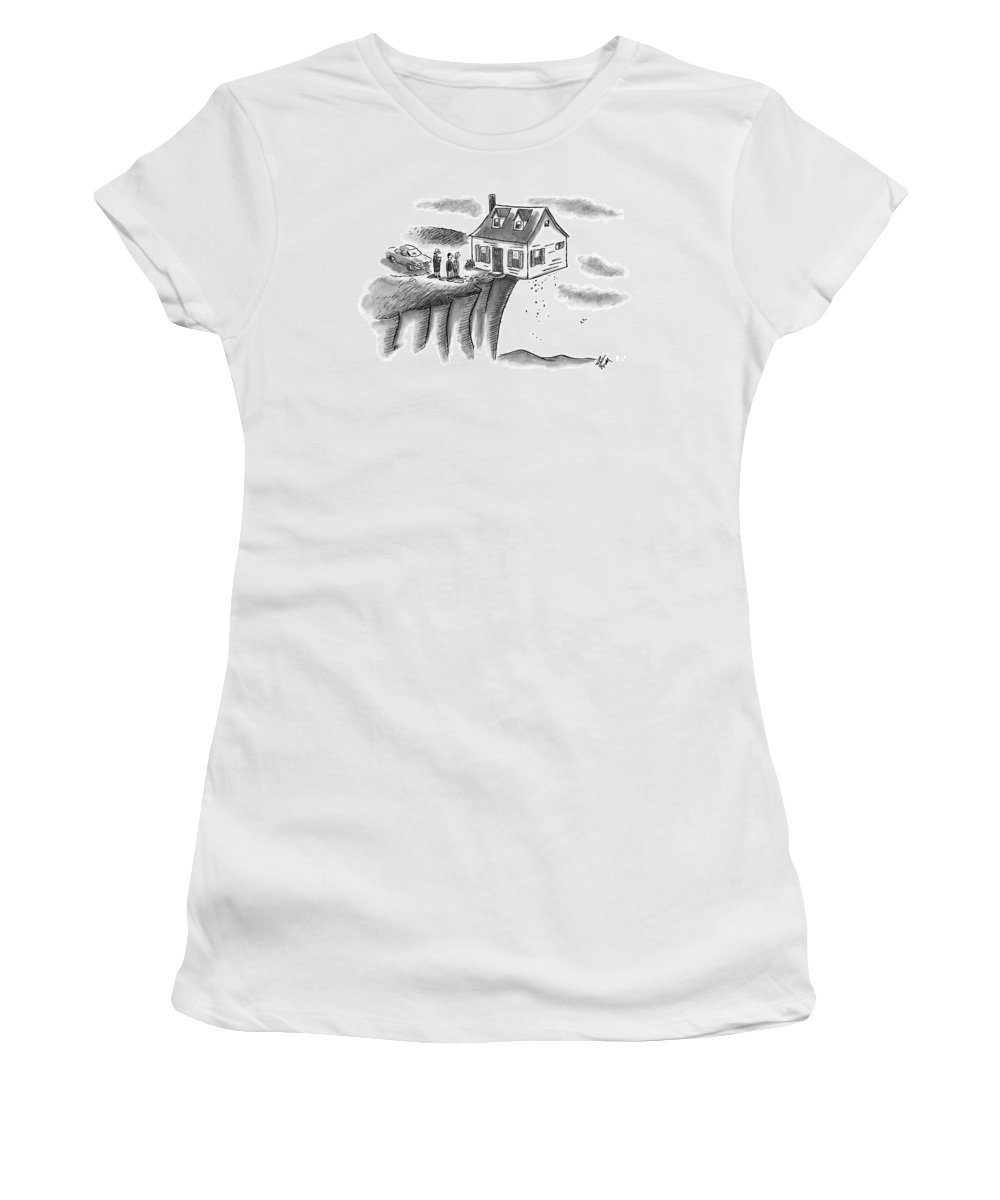Houses Women's T-Shirt featuring the drawing A Couple And A Real Estate Representative Stand by Frank Cotham