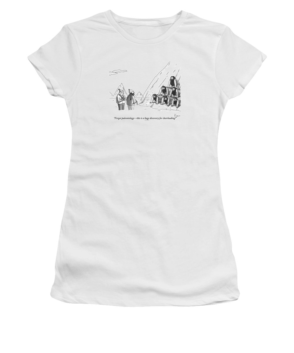 Pyramid Women's T-Shirt featuring the drawing A Couple Finds A Pyramid Of Cavemen Preserved by Zachary Kanin