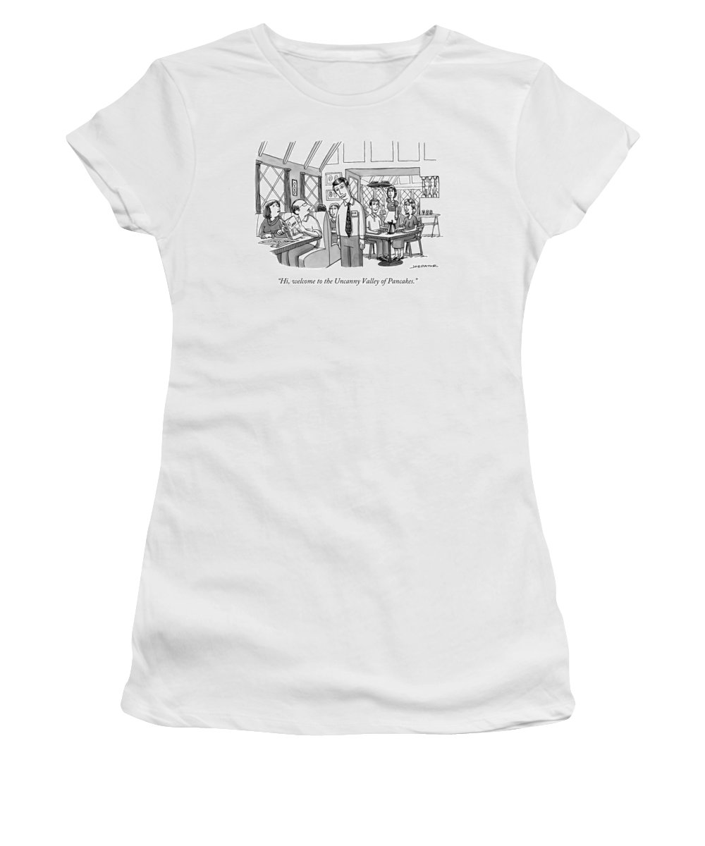 Hi Women's T-Shirt featuring the drawing Uncanny Valley Of Pancakes by Joe Dator