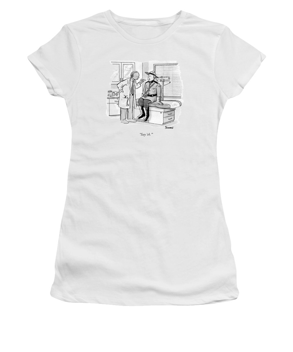 Canadian Women's T-Shirt featuring the drawing A Doctor Inspects A Royal Canadian Mounted by Benjamin Schwartz