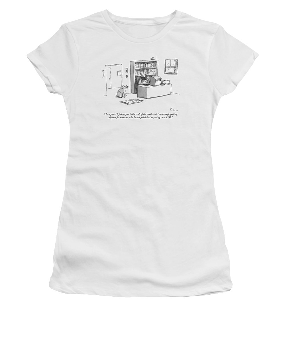 Dogs (fetching) Women's T-Shirt featuring the drawing A Dog Announces To His Owner by Zachary Kanin