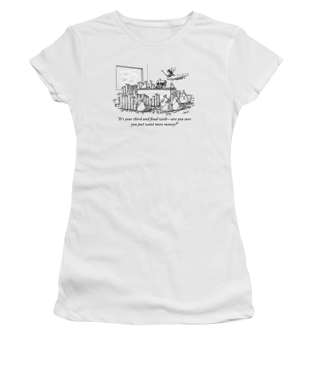 Money Women's T-Shirt featuring the drawing A Fairy Is Seen Talking To A Man Seated by Tom Cheney