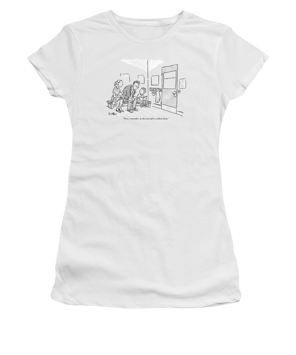 Admissions Women's T-Shirt featuring the drawing A Father Leans In To Give Advice To His Son by Robert Leighton