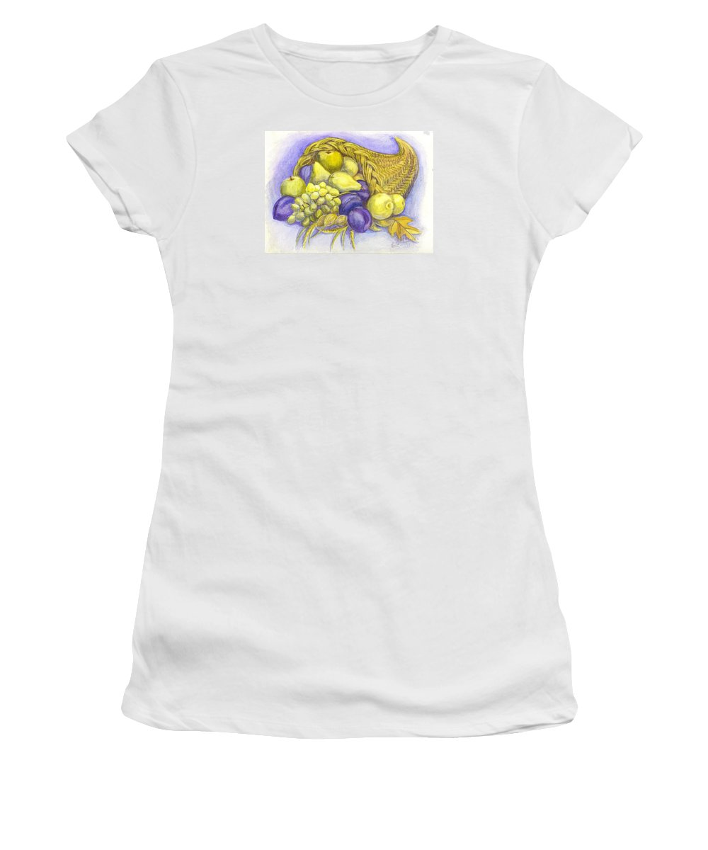 Greeting Card. Horn Of Plenty Women's T-Shirt (Athletic Fit) featuring the painting A Fruitful Horn Of Plenty by Carol Wisniewski