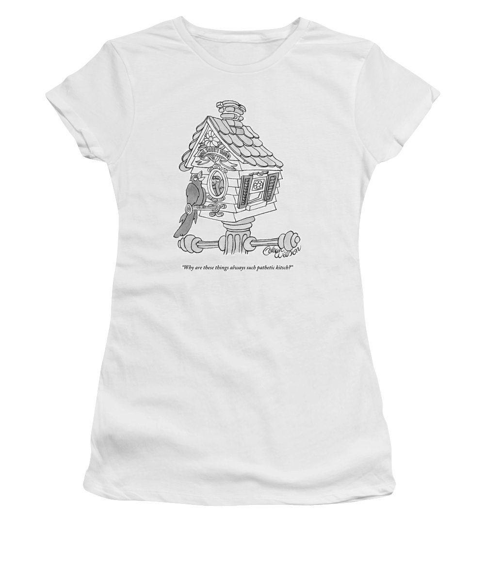 Birdhouses Women's T-Shirt featuring the drawing A Frustrated-looking Bird Perches Himself by Gahan Wilson