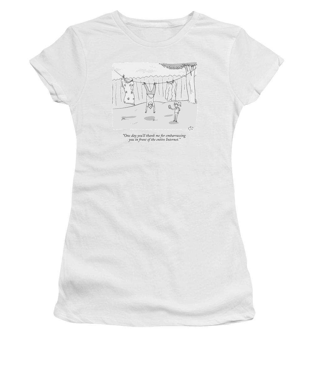 Picture Women's T-Shirt featuring the drawing A Girl Takes A Cellphone Picture Of A Boy Hanging by Farley Katz