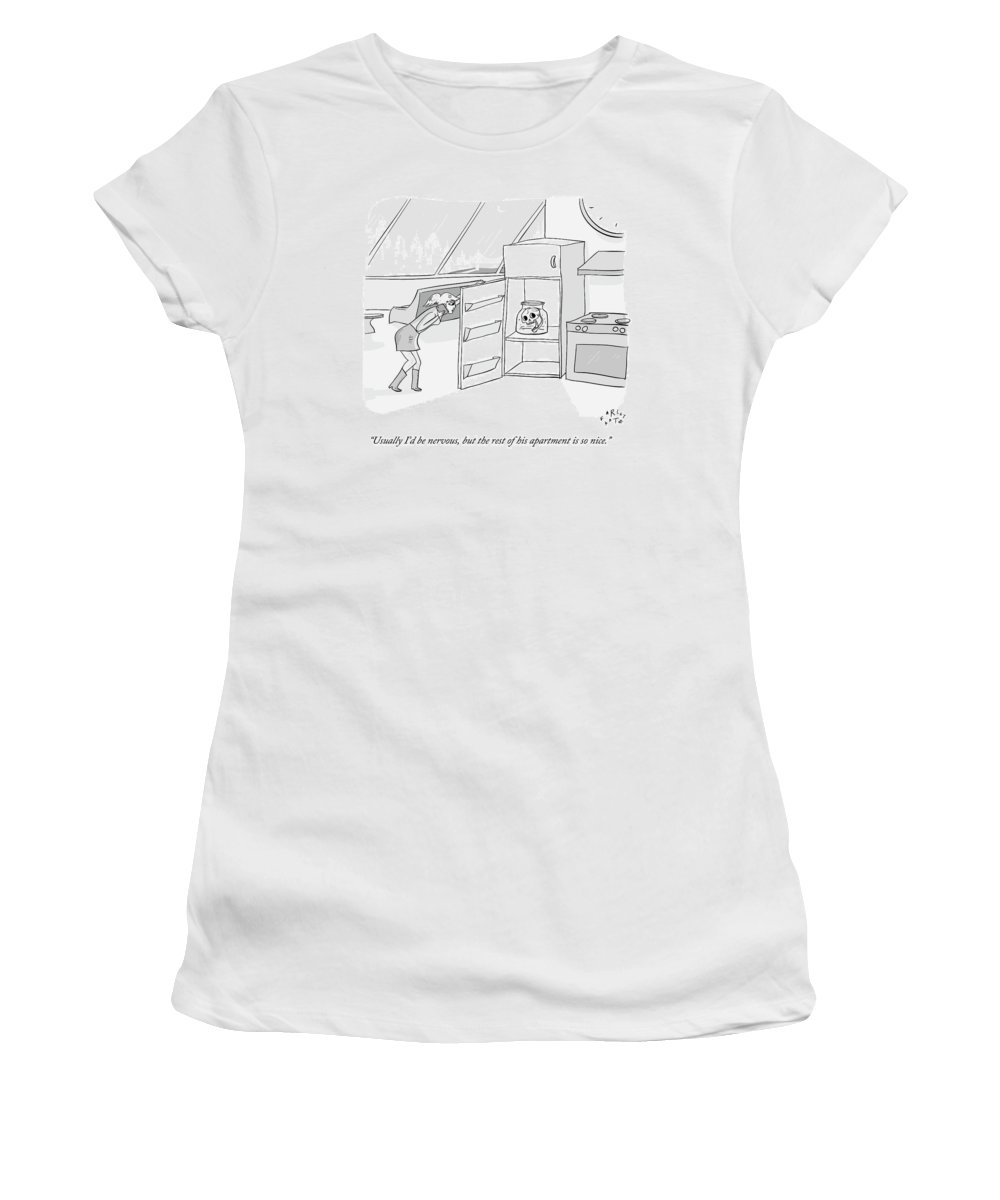 Date Women's T-Shirt featuring the drawing A Girl Who Is Talking On The Phone Opens A Fridge by Farley Katz