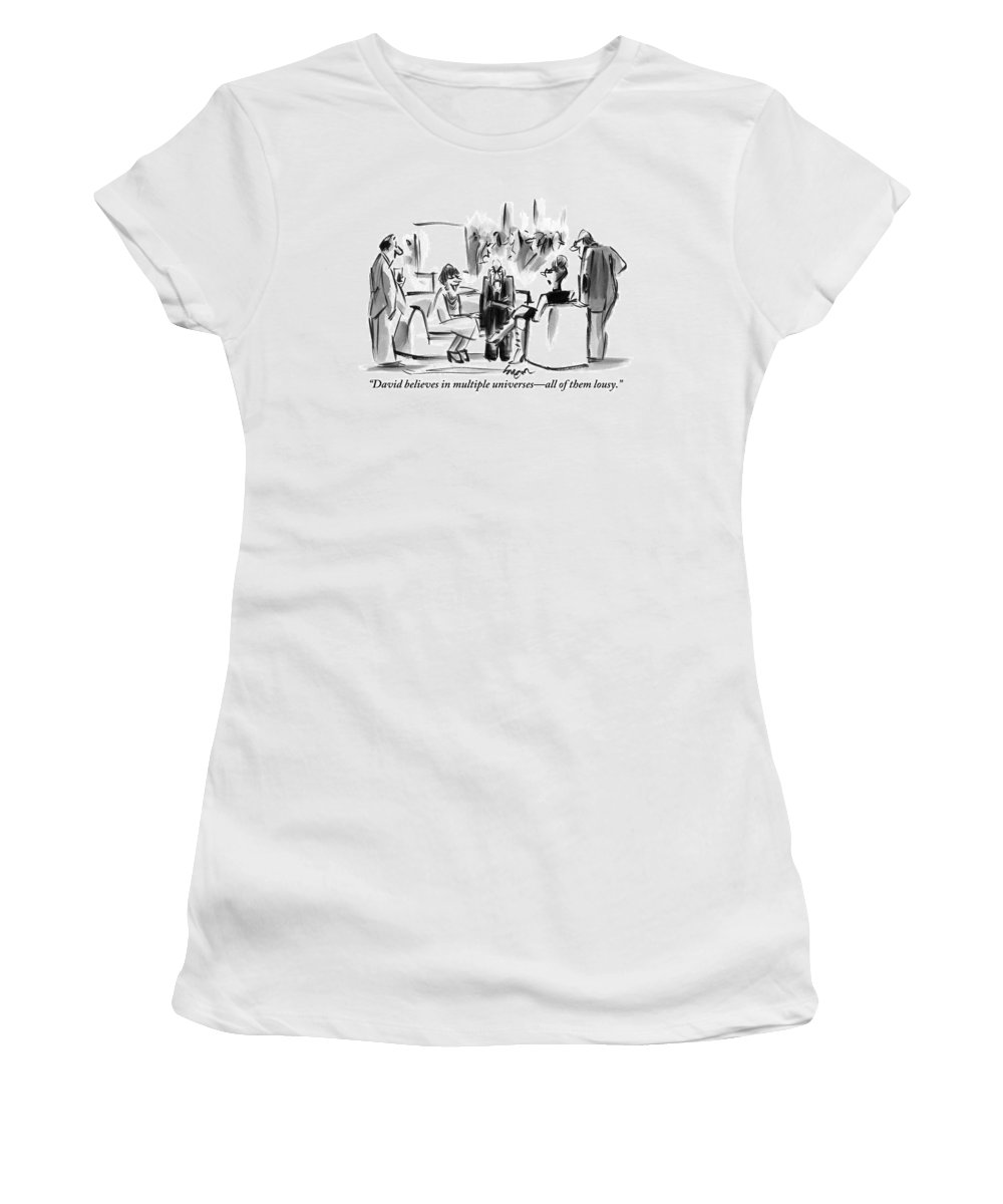 Multiple Universes Women's T-Shirt featuring the drawing A Grouchy Man And His Wife Speak To Another by Lee Lorenz