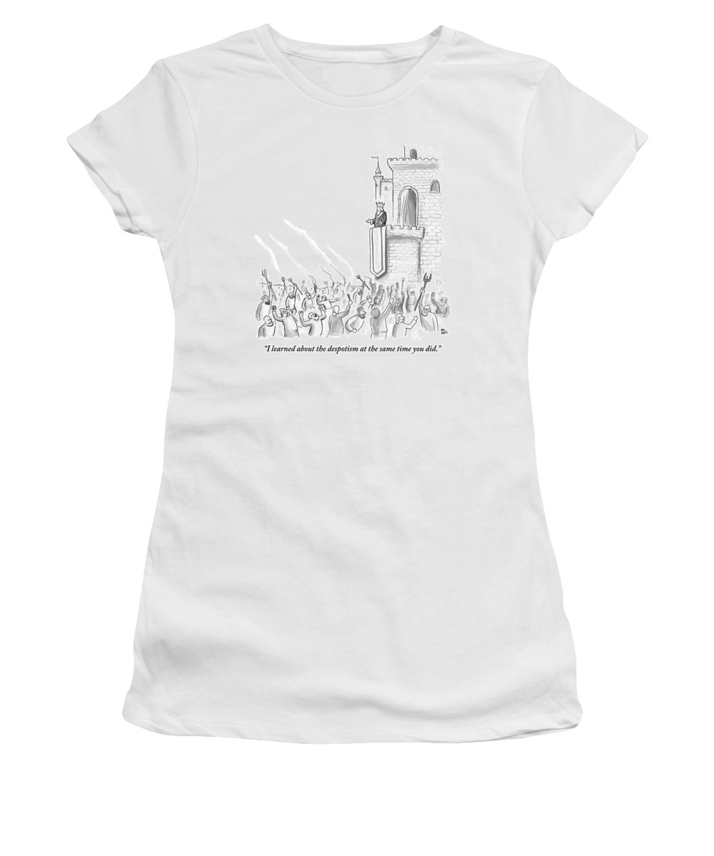 Riot Women's T-Shirt featuring the drawing A Group Of Angry Townspeople Rebel by Paul Noth