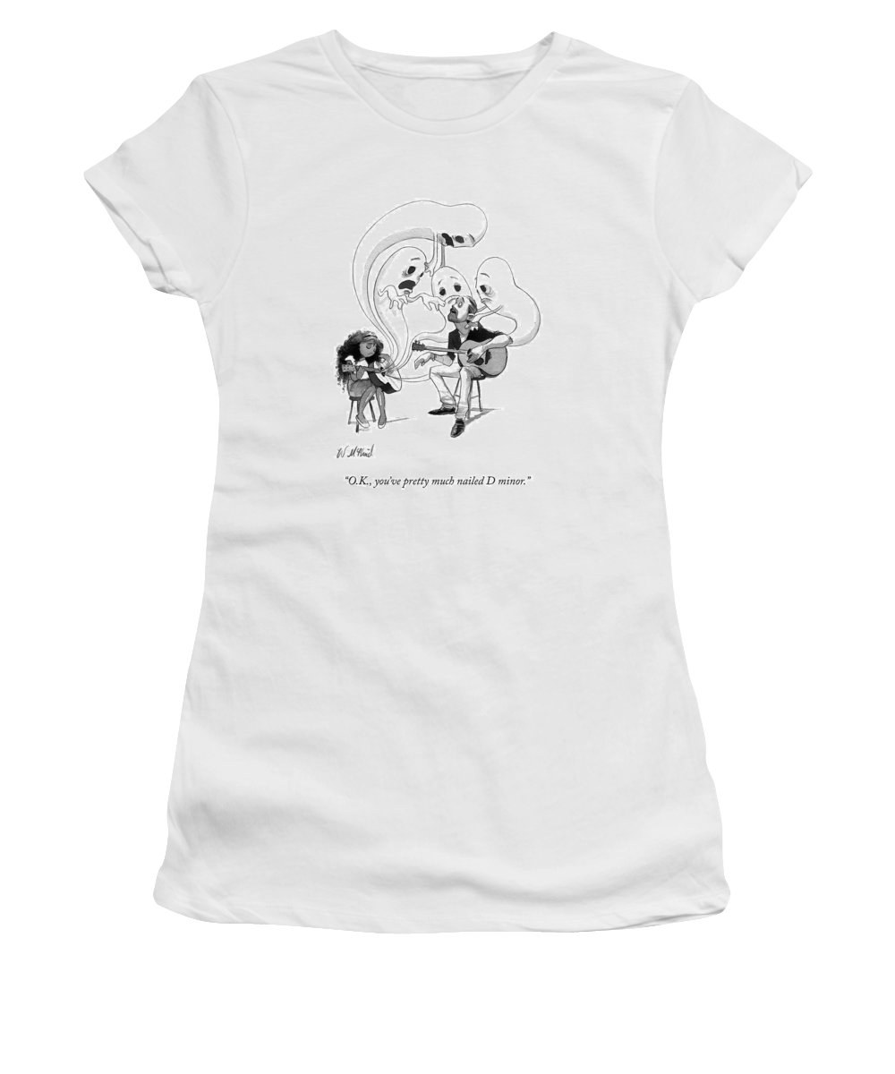Guitar Lesson Women's T-Shirt featuring the drawing A Guitar Teacher Speaks To His Student by Will McPhail