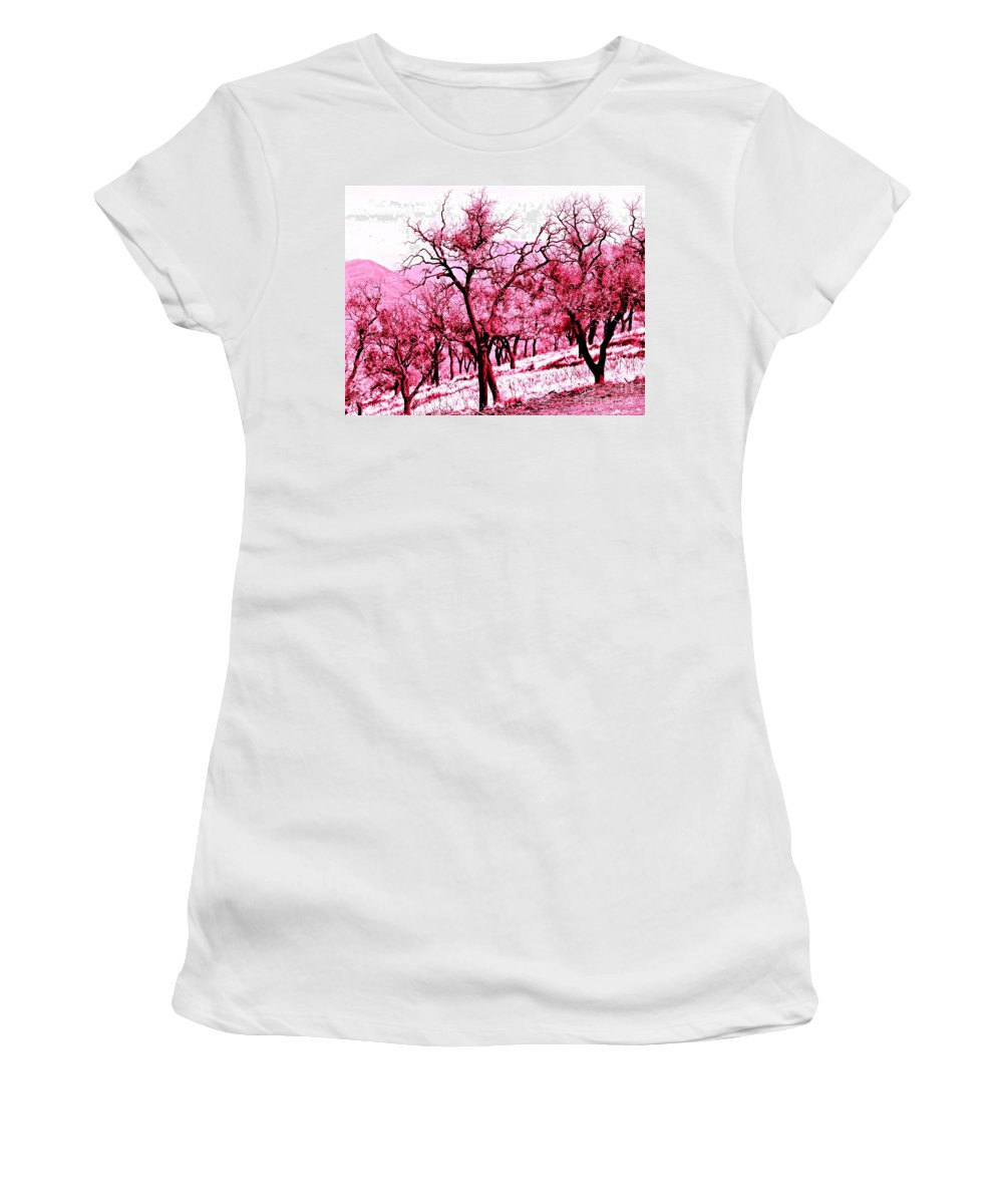 Trees Women's T-Shirt featuring the photograph A Hint Of Pink by Clare Bevan