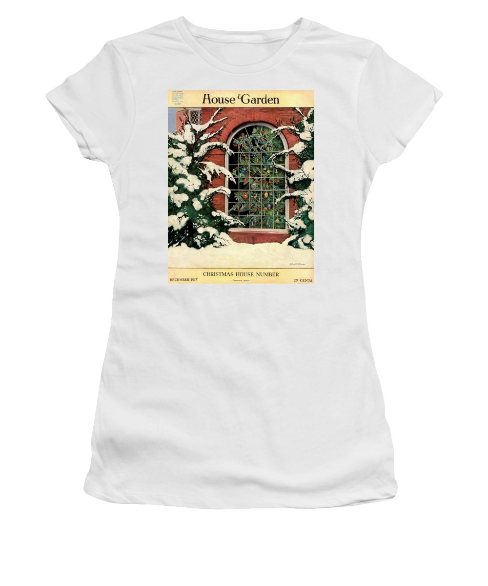 Illustration Women's T-Shirt featuring the photograph A House And Garden Cover Of A Christmas Tree by Ethel Franklin Betts Baines