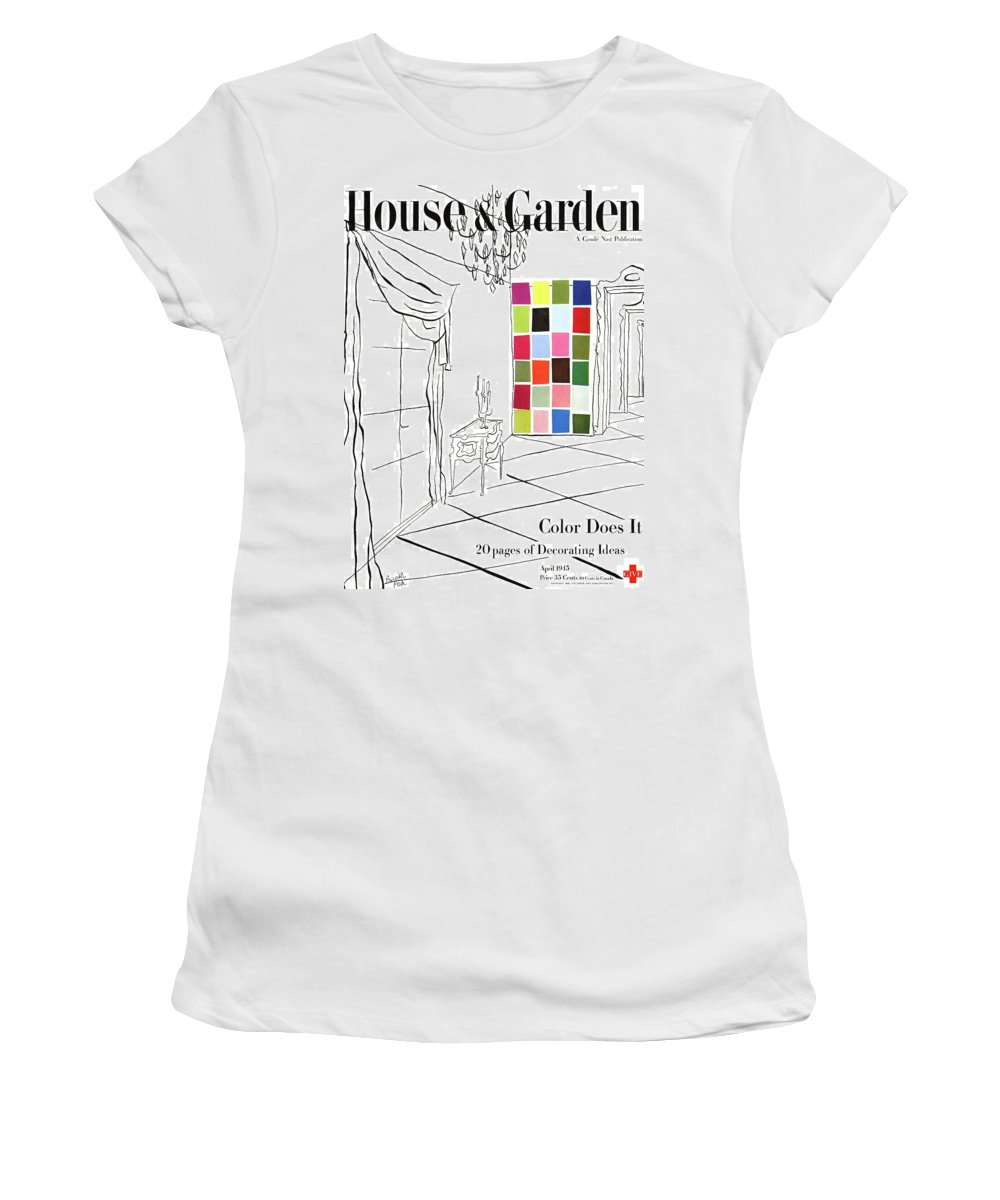 Illustration Women's T-Shirt featuring the photograph A House And Garden Cover Of Color Swatches by Priscilla Peck