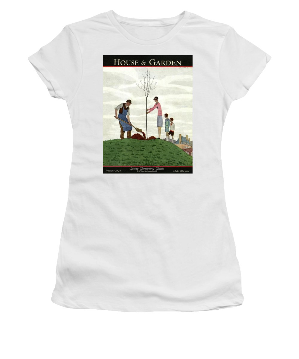 Illustration Women's T-Shirt featuring the photograph A House And Garden Cover Of People Planting by Andre E. Marty