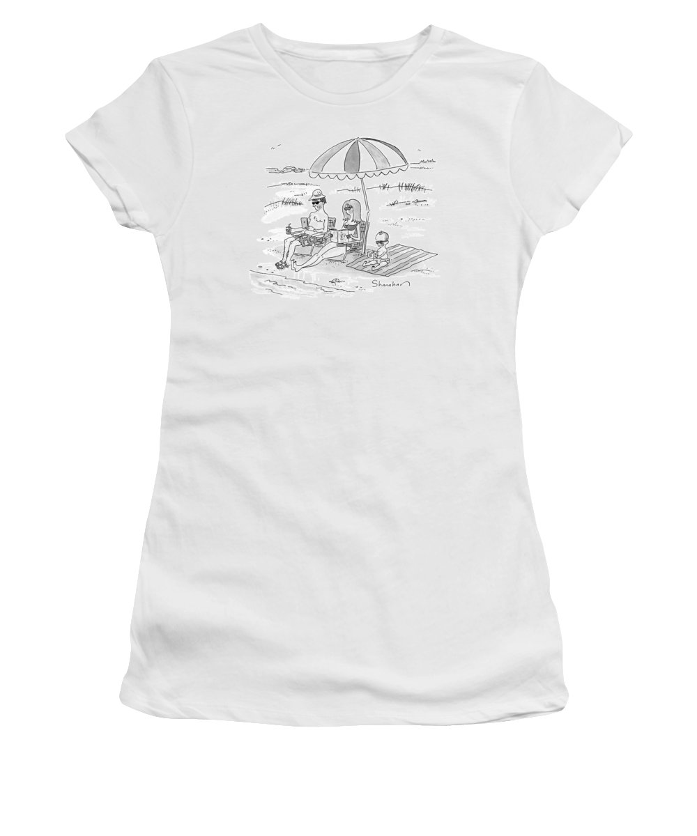 Swimming Women's T-Shirt featuring the drawing A Husband, Wife, And Their Toddler Sit by Danny Shanahan