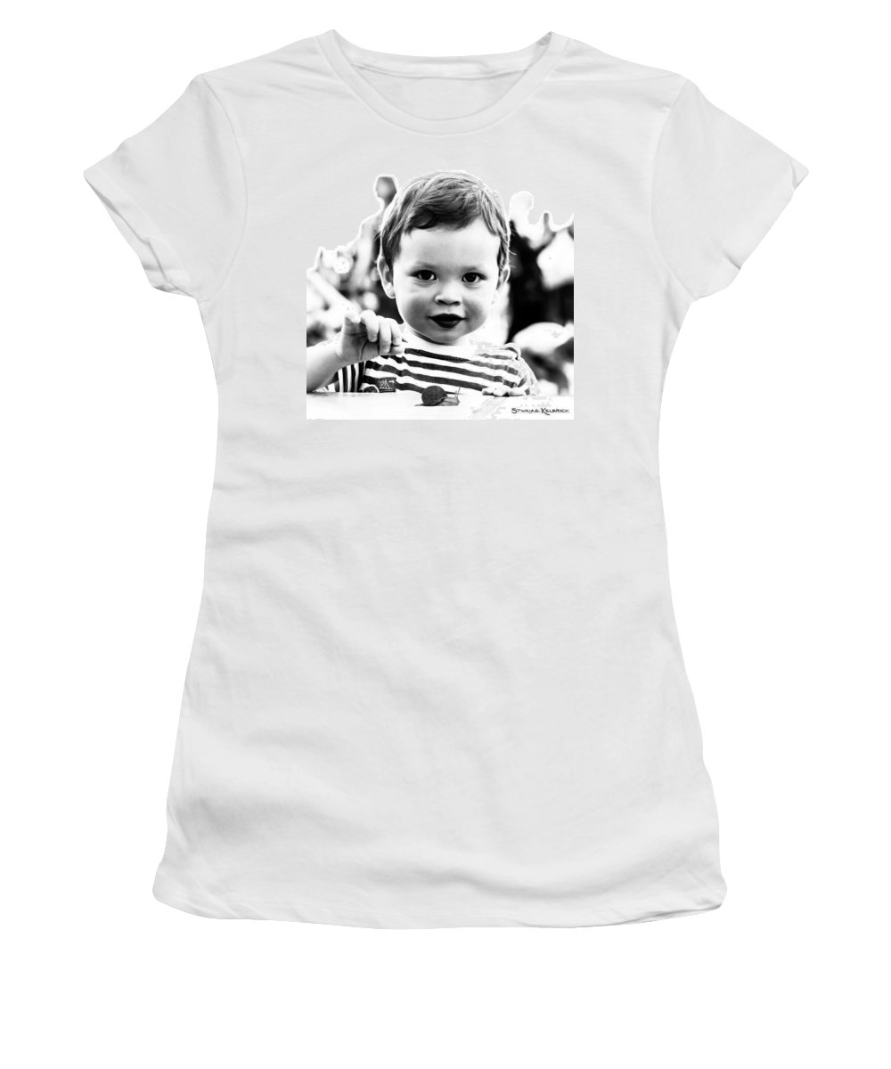 Portrait Women's T-Shirt featuring the photograph A Kid Playin' With A Snail by Stwayne Keubrick