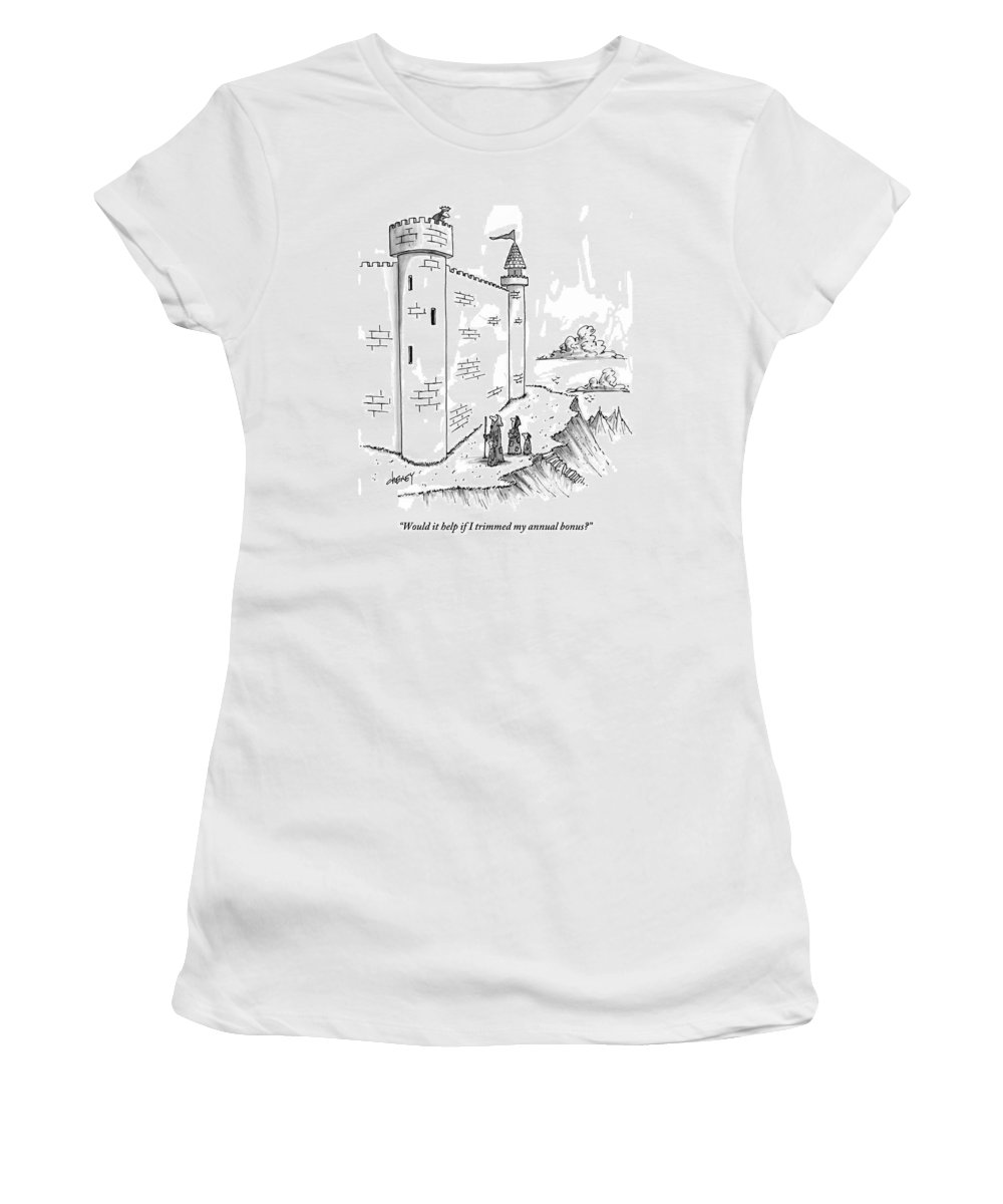 Bonus Women's T-Shirt featuring the drawing A King Looks Over The Parapet Of His Castle by Tom Cheney